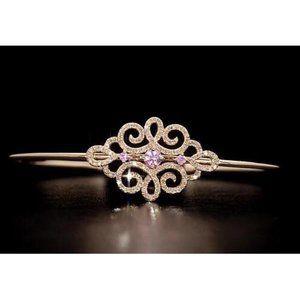 Women Diamond Bangle Pink Sapphire 5 Carats Yellow